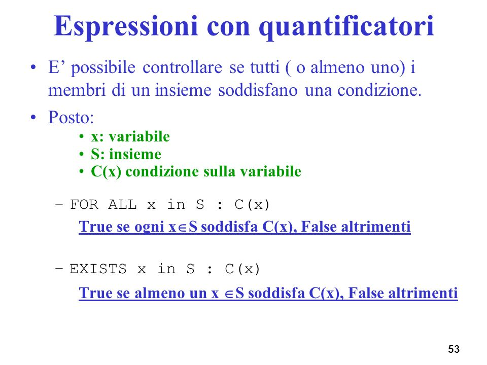 Espressioni con quantificatori