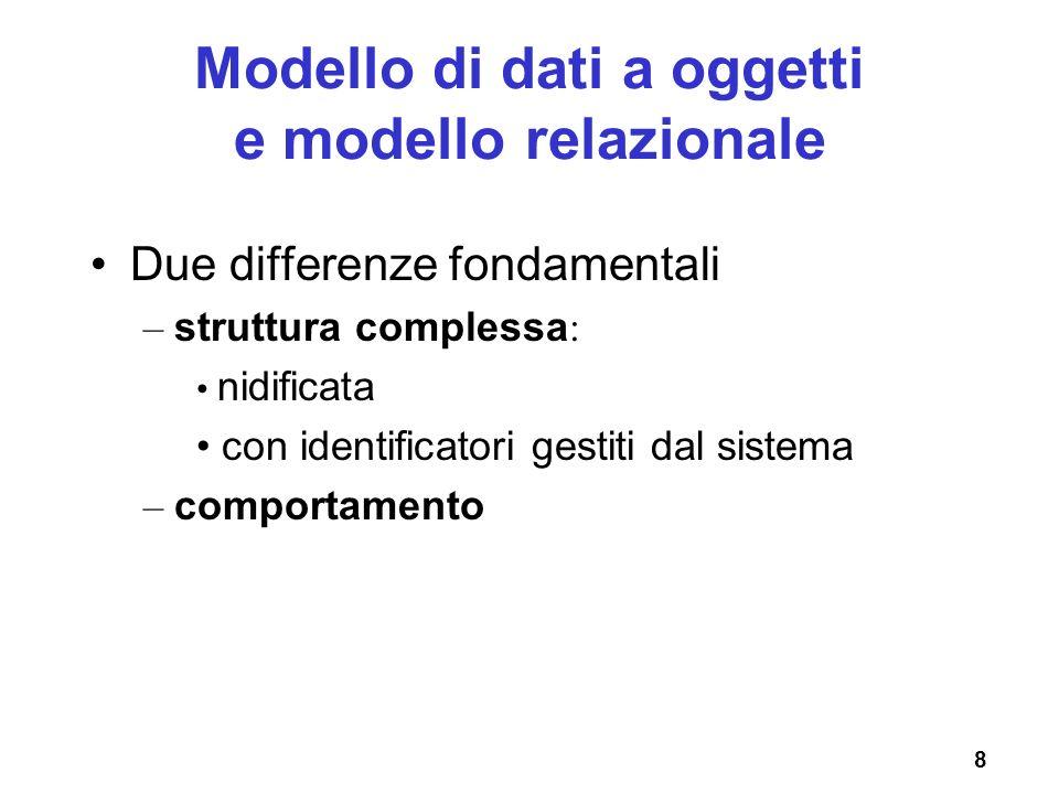 Modello di dati a oggetti e modello relazionale