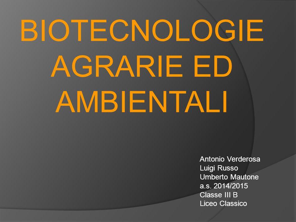 BIOTECNOLOGIE AGRARIE ED AMBIENTALI