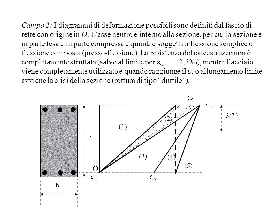 Campo 2: I diagrammi di deformazione possibili sono definiti dal fascio di rette con origine in O. L'asse neutro è interno alla sezione, per cui la sezione è in parte tesa e in parte compressa e quindi è soggetta a flessione semplice o flessione composta (presso-flessione). La resistenza del calcestruzzo non è completamente sfruttata (salvo al limite per εcu = − 3,5‰), mentre l'acciaio viene completamente utilizzato e quando raggiunge il suo allungamento limite avviene la crisi della sezione (rottura di tipo duttile ).