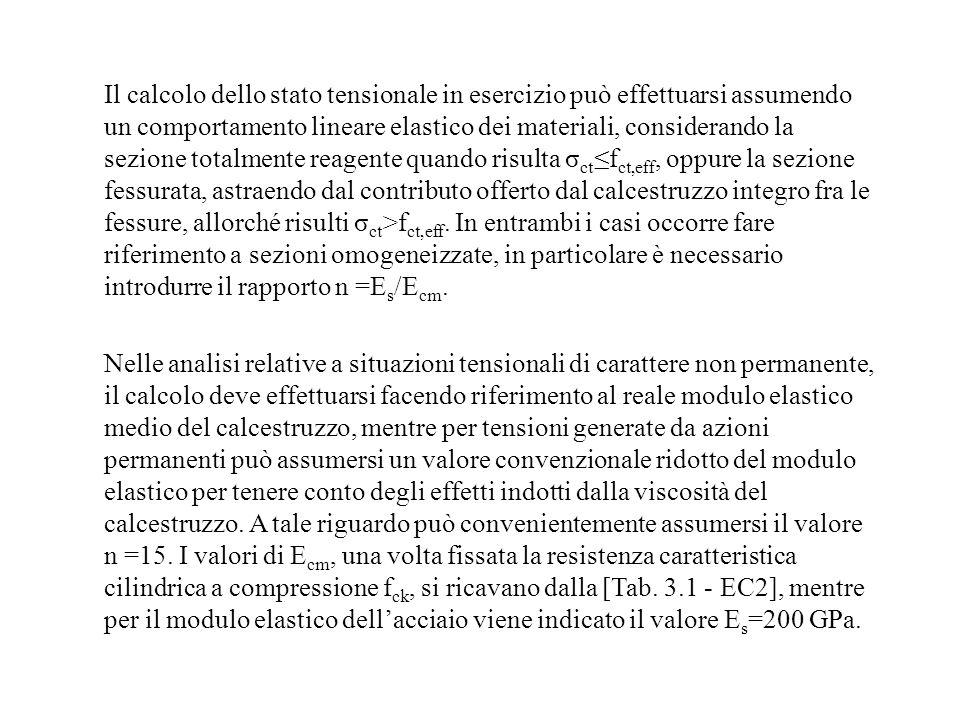 Il calcolo dello stato tensionale in esercizio può effettuarsi assumendo un comportamento lineare elastico dei materiali, considerando la sezione totalmente reagente quando risulta σct≤fct,eff, oppure la sezione fessurata, astraendo dal contributo offerto dal calcestruzzo integro fra le fessure, allorché risulti σct>fct,eff. In entrambi i casi occorre fare riferimento a sezioni omogeneizzate, in particolare è necessario introdurre il rapporto n =Es/Ecm.