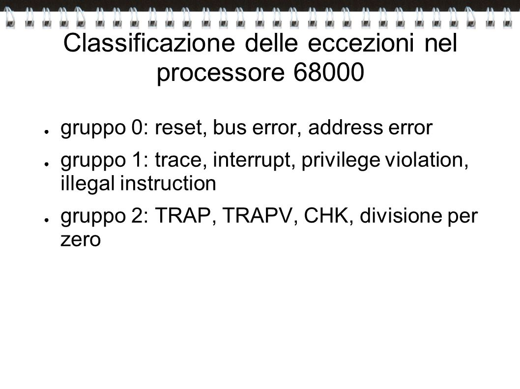 Classificazione delle eccezioni nel processore 68000