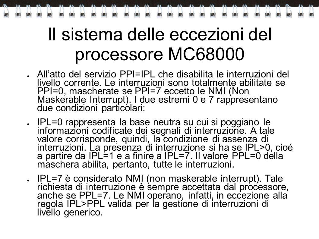 Il sistema delle eccezioni del processore MC68000