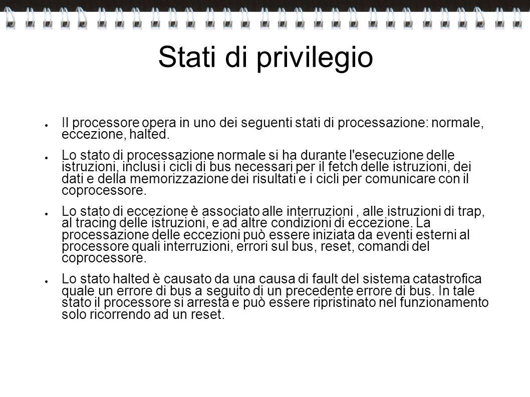 Stati di privilegio Il processore opera in uno dei seguenti stati di processazione: normale, eccezione, halted.
