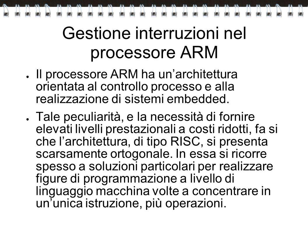 Gestione interruzioni nel processore ARM