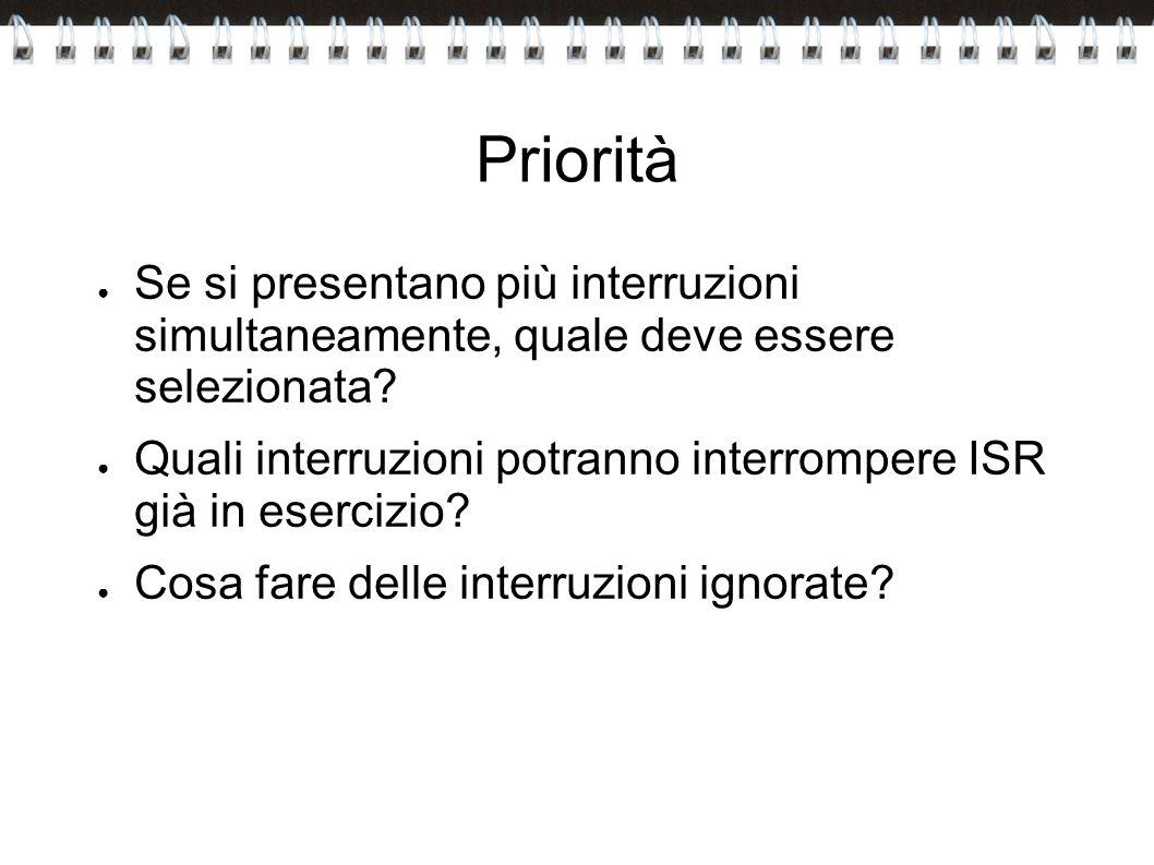Priorità Se si presentano più interruzioni simultaneamente, quale deve essere selezionata