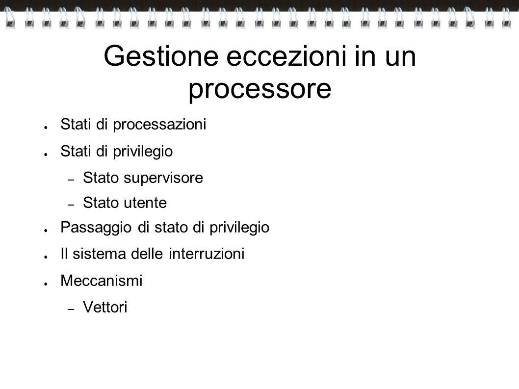 Gestione eccezioni in un processore