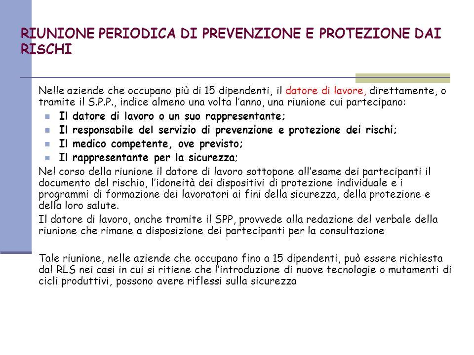 RIUNIONE PERIODICA DI PREVENZIONE E PROTEZIONE DAI RISCHI