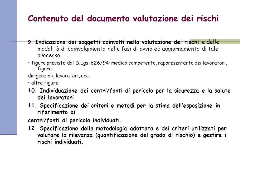 Contenuto del documento valutazione dei rischi