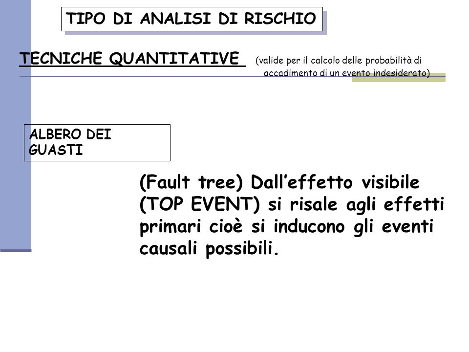 TIPO DI ANALISI DI RISCHIO