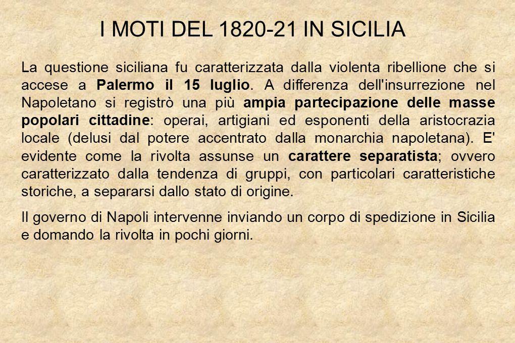 I MOTI DEL 1820-21 IN SICILIA