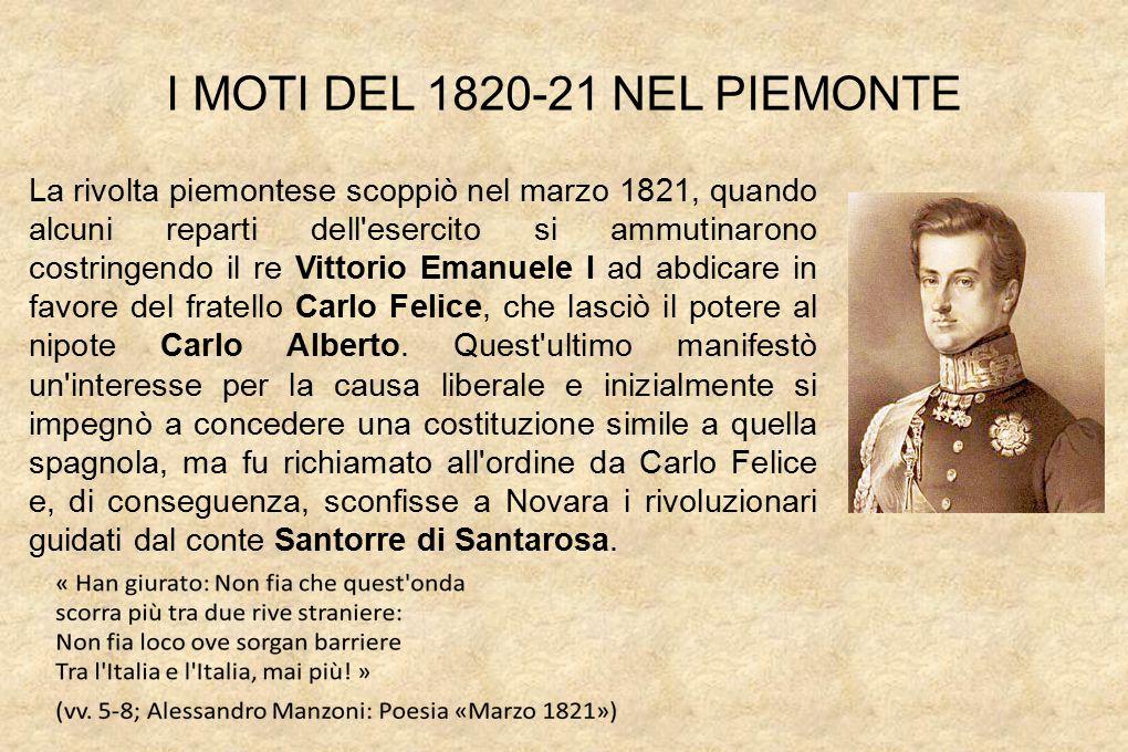 I MOTI DEL 1820-21 NEL PIEMONTE