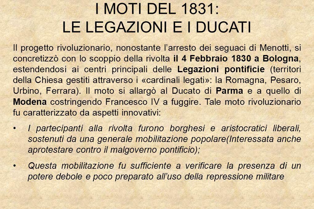 I MOTI DEL 1831: LE LEGAZIONI E I DUCATI