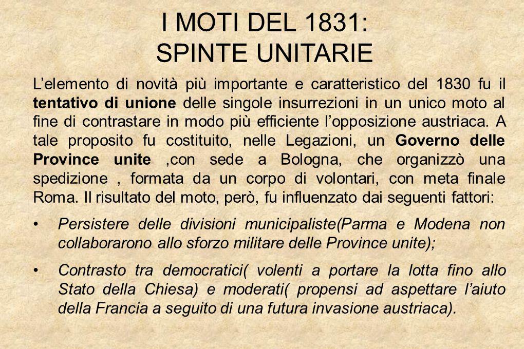 I MOTI DEL 1831: SPINTE UNITARIE