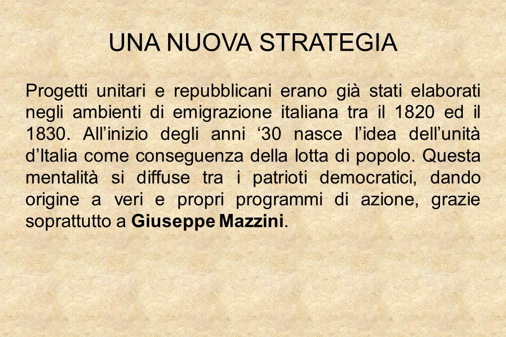 UNA NUOVA STRATEGIA