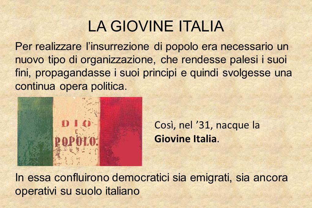 LA GIOVINE ITALIA Così, nel '31, nacque la Giovine Italia.