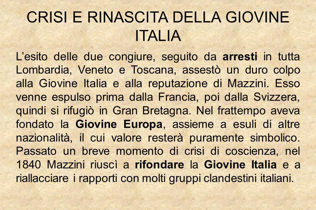 CRISI E RINASCITA DELLA GIOVINE ITALIA