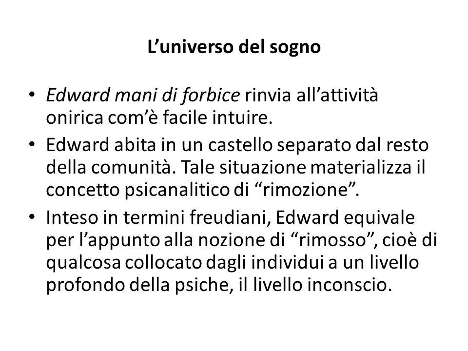 L'universo del sogno Edward mani di forbice rinvia all'attività onirica com'è facile intuire.