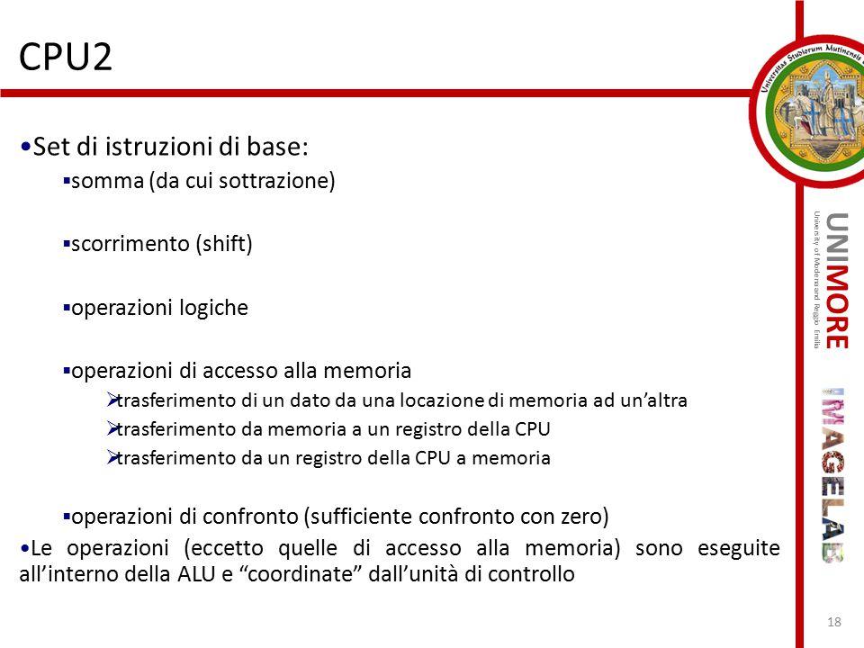 CPU2 Set di istruzioni di base: somma (da cui sottrazione)