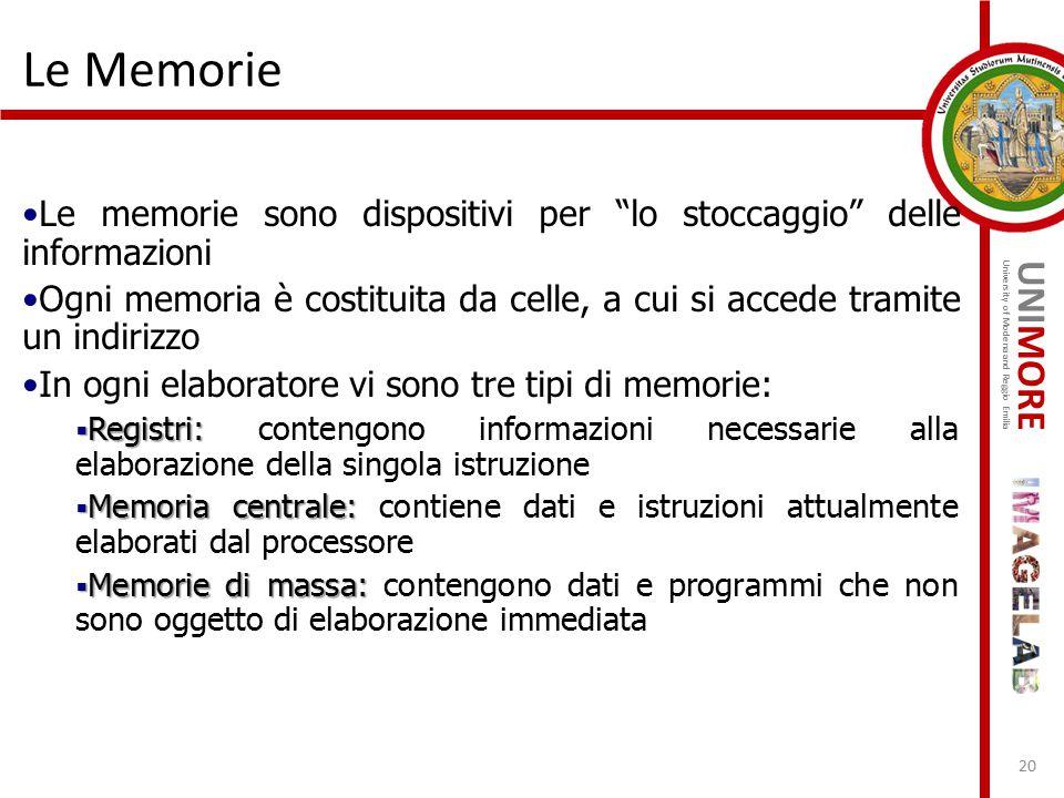 Le Memorie Le memorie sono dispositivi per lo stoccaggio delle informazioni.
