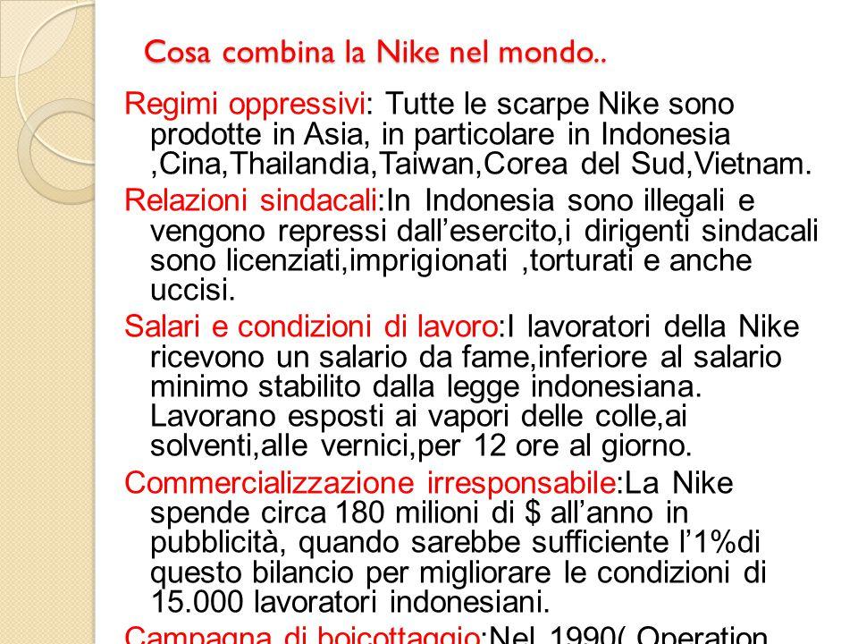 Cosa combina la Nike nel mondo..