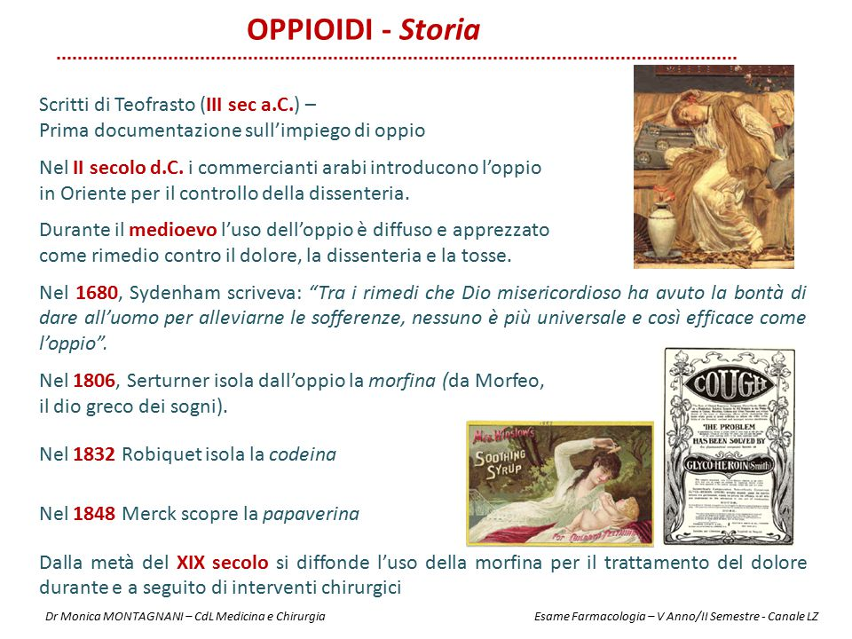 OPPIOIDI - Storia Scritti di Teofrasto (III sec a.C.) –
