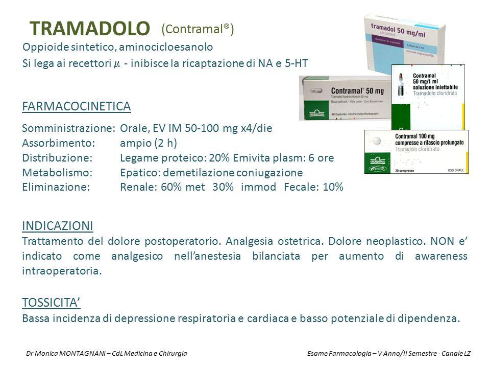 TRAMADOLO (Contramal®) FARMACOCINETICA INDICAZIONI TOSSICITA'