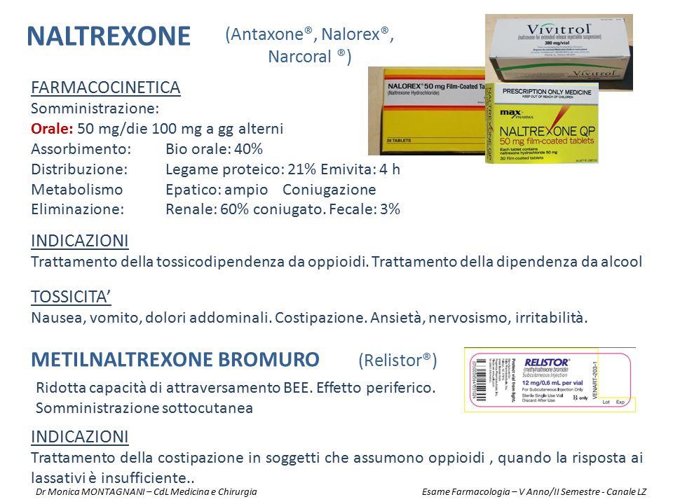 NALTREXONE METILNALTREXONE BROMURO (Relistor®) (Antaxone®, Nalorex®,