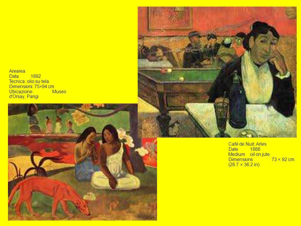 Arearea Data 1892. Tecnica: olio su tela. Dimensioni: 75×94 cm. Ubicazione Museo d Orsay, Parigi.
