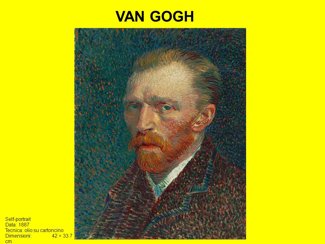 VAN GOGH Self-portrait Data: 1887 Tecnica: olio su cartoncino