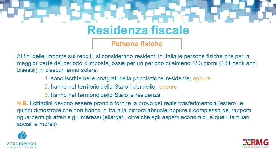 Residenza fiscale Persone fisiche