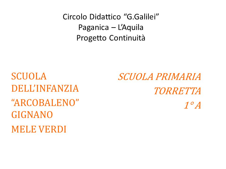 Circolo Didattico G.Galilei Paganica – L'Aquila Progetto Continuità