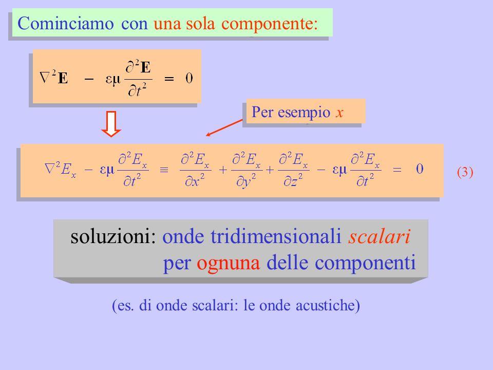 soluzioni: onde tridimensionali scalari per ognuna delle componenti