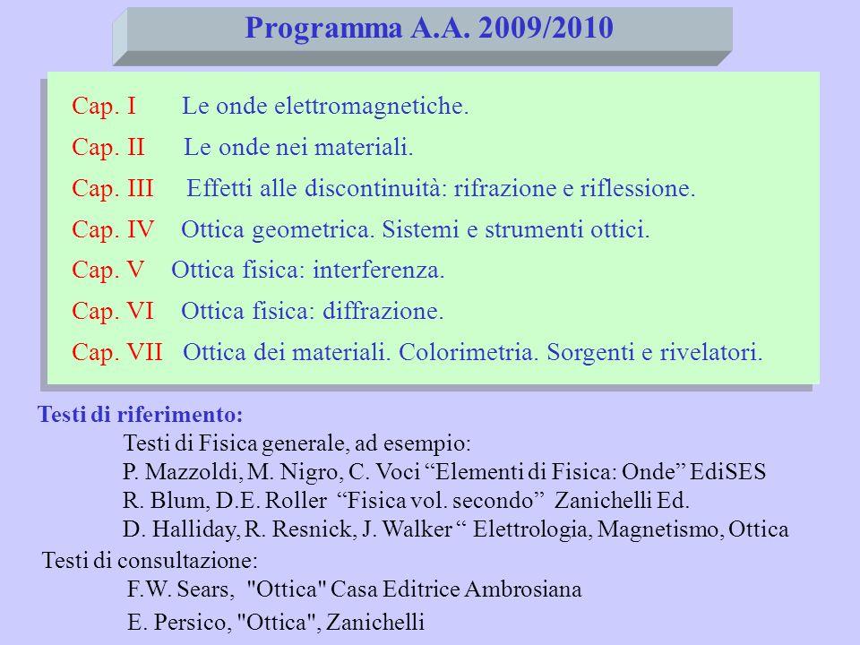 Programma A.A. 2009/2010 Cap. I Le onde elettromagnetiche.