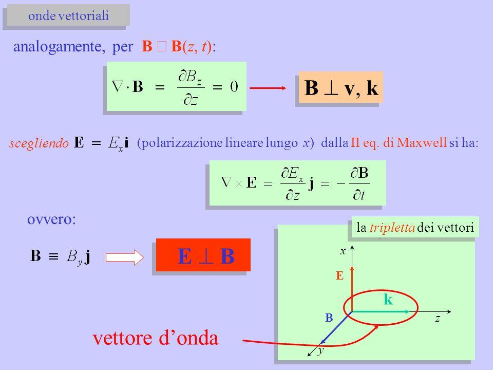 E ^ B B ^ v, k vettore d'onda analogamente, per B º B(z, t): ovvero: k