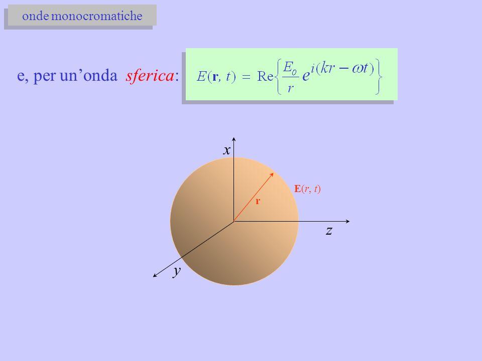 onde monocromatiche e, per un'onda sferica: x E(r, t) r z y