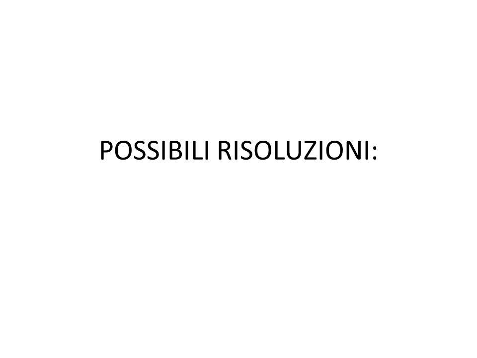 POSSIBILI RISOLUZIONI: