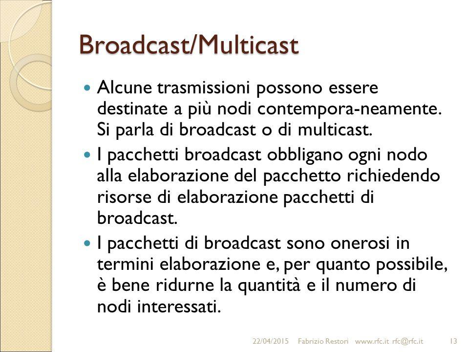 Broadcast/Multicast Alcune trasmissioni possono essere destinate a più nodi contempora-neamente. Si parla di broadcast o di multicast.