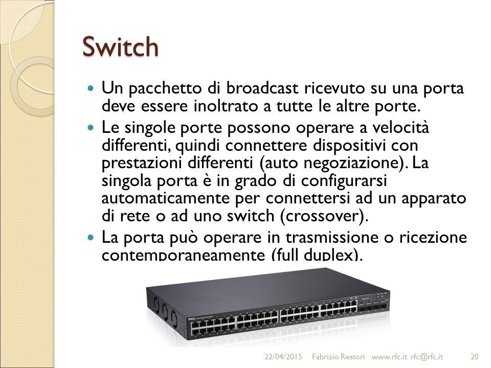 Switch Un pacchetto di broadcast ricevuto su una porta deve essere inoltrato a tutte le altre porte.