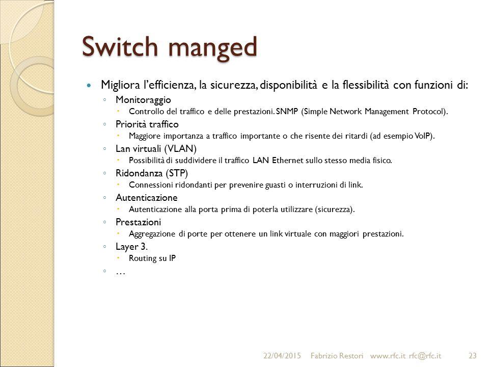 Switch manged Migliora l'efficienza, la sicurezza, disponibilità e la flessibilità con funzioni di: