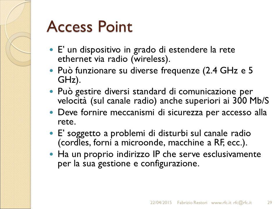 Access Point E' un dispositivo in grado di estendere la rete ethernet via radio (wireless). Può funzionare su diverse frequenze (2.4 GHz e 5 GHz).