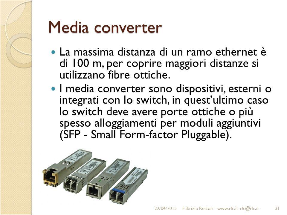 Media converter La massima distanza di un ramo ethernet è di 100 m, per coprire maggiori distanze si utilizzano fibre ottiche.
