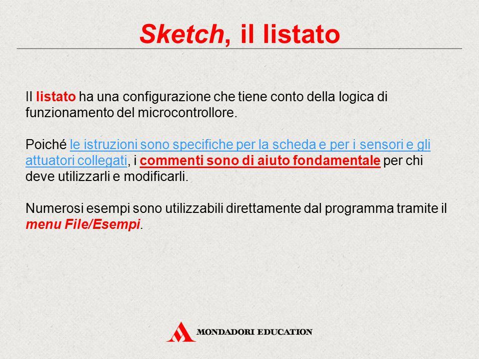 Sketch, il listato Il listato ha una configurazione che tiene conto della logica di funzionamento del microcontrollore.