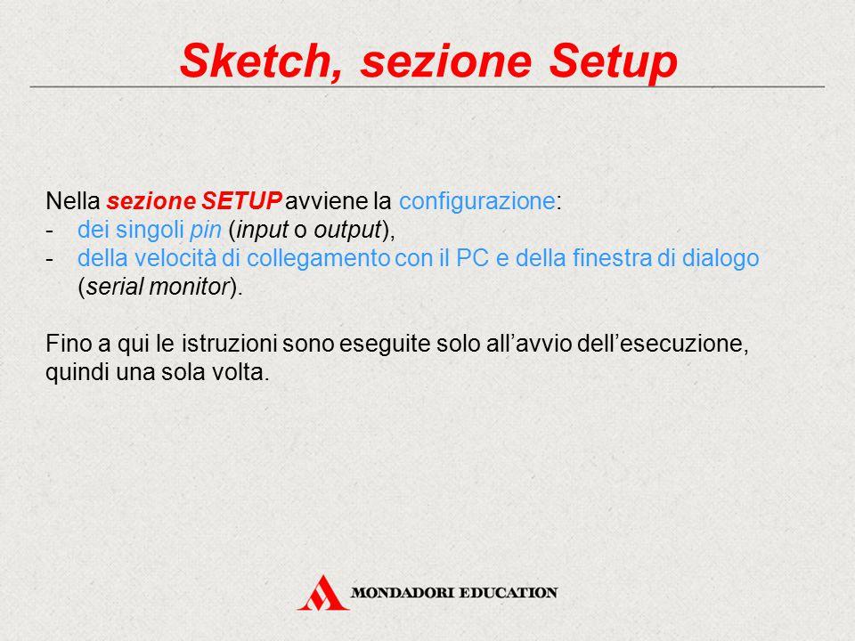 Sketch, sezione Setup Nella sezione SETUP avviene la configurazione:
