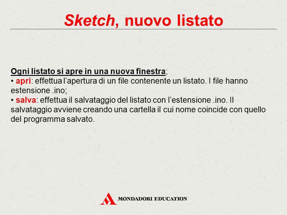 Sketch, nuovo listato Ogni listato si apre in una nuova finestra;