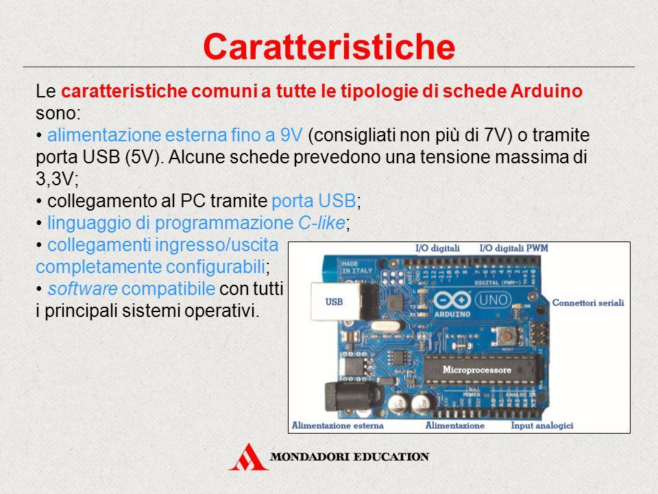 Caratteristiche Le caratteristiche comuni a tutte le tipologie di schede Arduino sono: