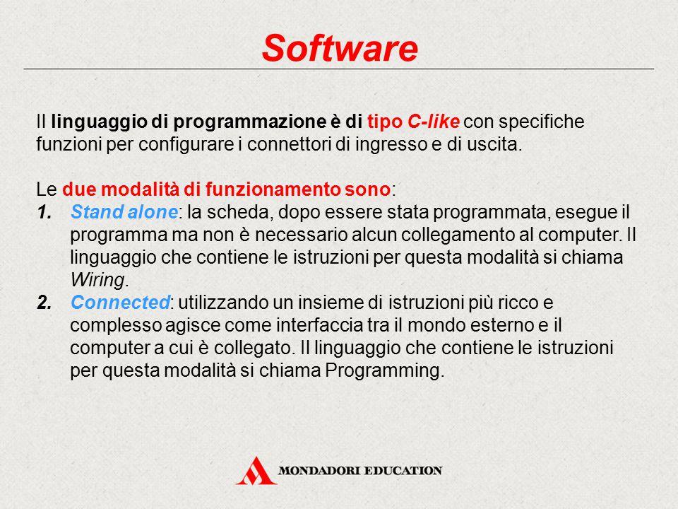 Software Il linguaggio di programmazione è di tipo C-like con specifiche funzioni per configurare i connettori di ingresso e di uscita.