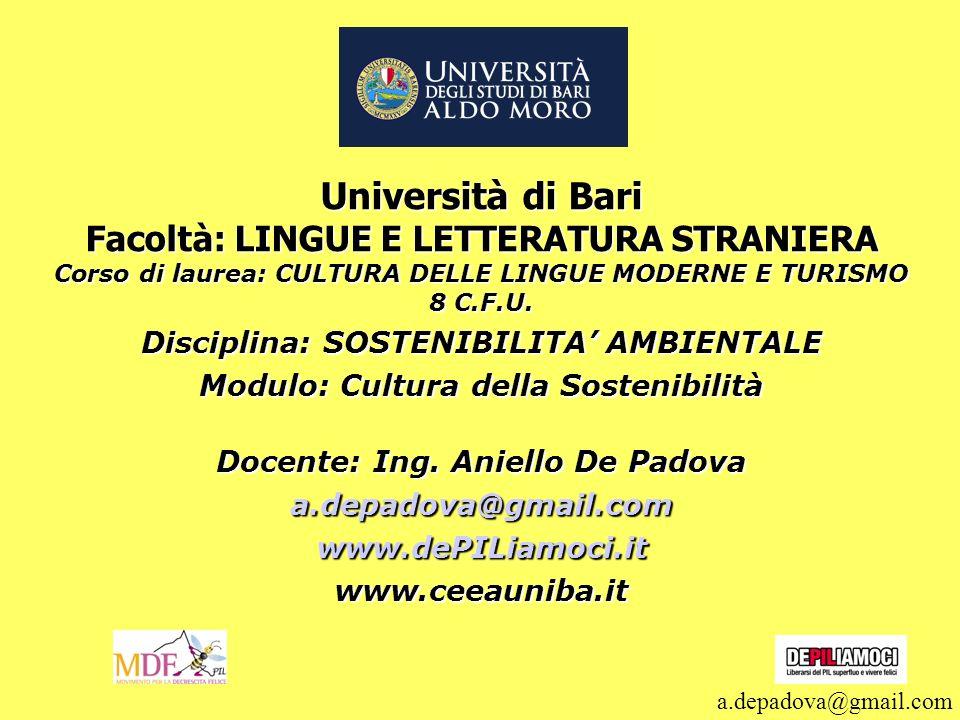 Università di Bari Facoltà: LINGUE E LETTERATURA STRANIERA