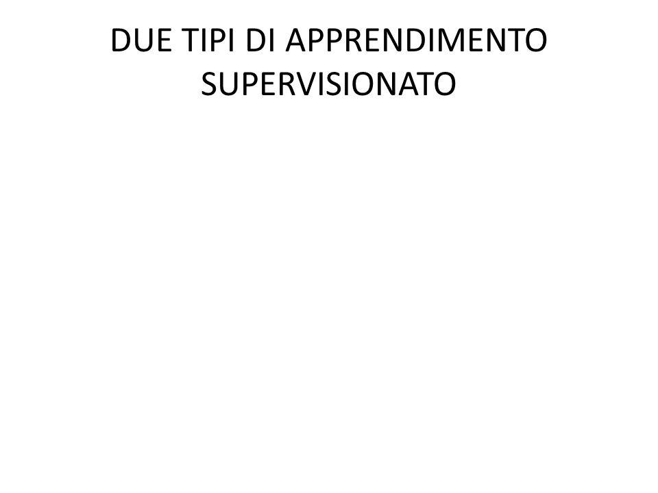 DUE TIPI DI APPRENDIMENTO SUPERVISIONATO