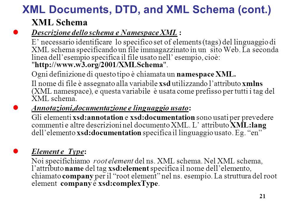 XML Documents, DTD, and XML Schema (cont.)
